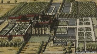 An image of Rycote Park created in 1707