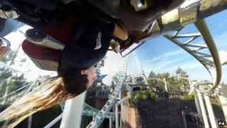 Person on ride at Thorpe Park