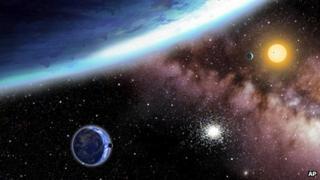 Undated artist rendering of Kepler-62e and Kepler-62f, discovered using Nasa's Kepler telescope