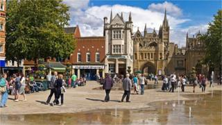Peterborough city centre Cathedral Square