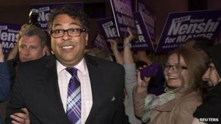 Naheed Nenshi speaks to his supporters after he was elected Calgary mayor for a second term in Calgary, Alberta on 21 October 2013