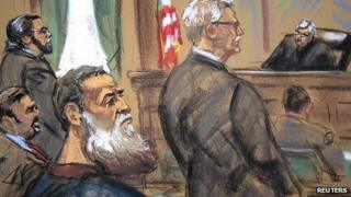 Courtroom sketch of Abu Anas al-Liby and lawyer Bernard Kleinman. 22 Oct 2013