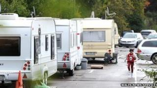 Caravans parked in the Royal Gwent staff car park