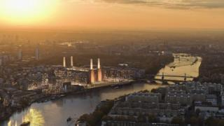 Computer illustration of the Battersea Power Station redevelopment