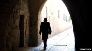 A rabbi in silhouette