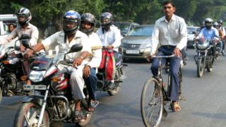 Indian cyclist on a Delhi street