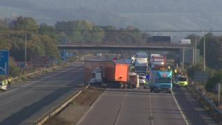 The crash scene on the M5 in Somerset