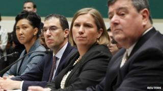 Cheryl Campbell, Senior Vice President of CGI Federal; Andrew Slavitt, Executive Vice President for Optum/QSSI; Lynn Spellecy, corporate counsel for Equifax Workforce Solutions and John Lau, program director for Serco are pictured at a House Energy and Commerce Committee hearing on the Patient Protection and Affordable Care Act in Washington, DC on 24 October 2013