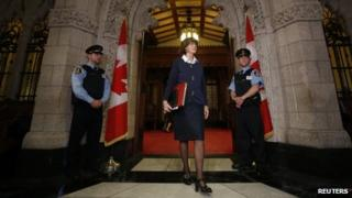 Conservative Senator Marjory LeBreton walked out of the Senate on Parliament Hill in Ottawa on 24 October 2013