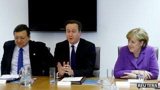 Jose Manuel Barroso, David Cameron and Angela Merkel