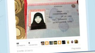 Screengrab from Twitter purporting to show an image of Naida Asiyalova's passport, as originally released