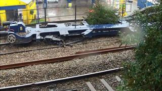 The damaged rolling stock
