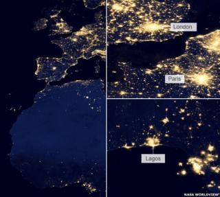 Lagos and London by night