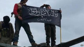 Flag of the al-Nusra Front in Idlib province. Jan 2013