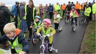 Children test out new Hadrian's Cycleway path