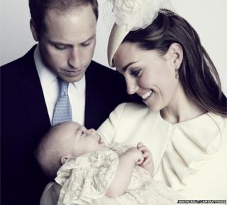 Official portrait for the christening of Prince George Alexander Louis of Cambridge, photographed in The Morning Room at Clarence House in London on October 23 2013. Image shows: Duke and Duchess of Cambridge with Prince George