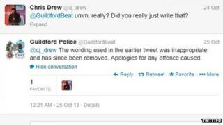Guildford Police Twitter page