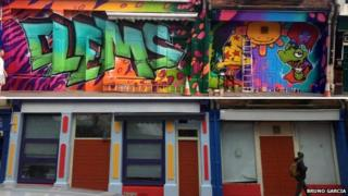 Composite of Clems nightclub with graffiti front, and a multi-colured paint job