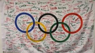 Signed Olympic flag