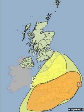 The severe weather looks set to miss Scotland