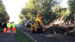 A digger clearing Weymouth Relief Road