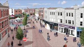 Artist impression of Loughborough Market Place