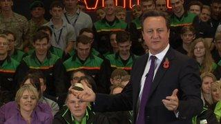 David Cameron addresses Mini workers near Oxford