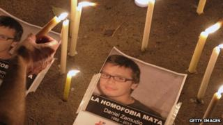 Gay rights activists light candles to pay tribute to Daniel Zamudio