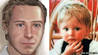 A poster of Ben Needham and a picture of him as a toddler