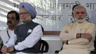 Mr Singh (left) and Mr Modi shared a stage on Tuesday but had opposing ideas on the legacy of Sardar Patel