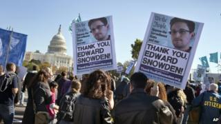 Demonstrators rally at the US Capitol to protest spying on Americans by the National Security Agency