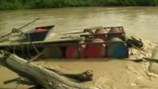 Makeshift barge used for mining on rivers in Ghana