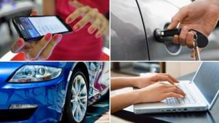 (Clockwise) woman using smartphone (Getty); man using key to open car door (Thinkstock); person on laptop (Thinkstock); car (Thinkstock)