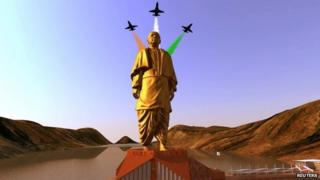 An artist's rendering of a statue of Sardar Patel, to be built in the western Indian state of Gujarat, in this handout provided by the Gujarat government on October 31, 2013