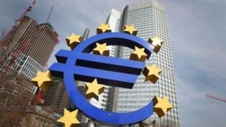 Euro logo in front of ECB in Frankfurt