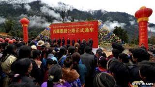 People in Medog celebrate the opening of their new road