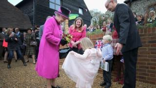 The Queen at the new youth hostel in the South Downs
