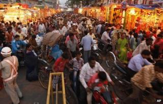 A market before Diwali in India