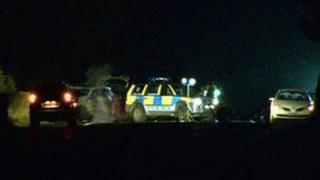 Scene of crash at Fivemiletown