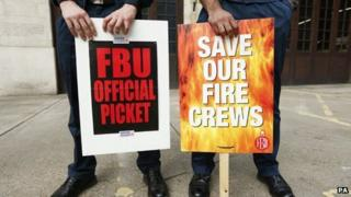 Firefighters on picket line in September