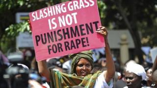 Women protesting against sentence for rapists, Nairobi (31 October)