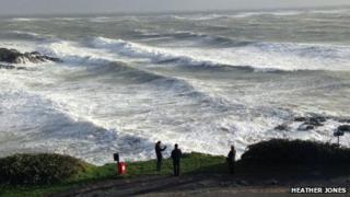 The high sea at Mumbles Head near Swansea