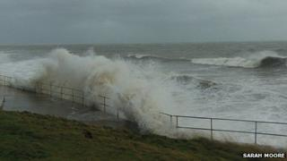The froth at Amroth - BBC Pembrokeshire reporter Sarah Moore took this photo of the swell on the coast