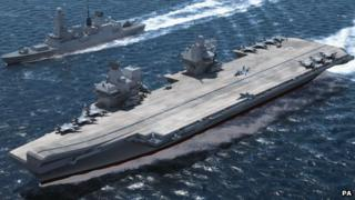 Computer-generated image issued by the Aircraft Carrier Alliance of the new Queen Elizabeth Class ships