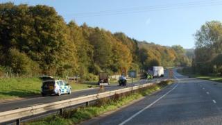 The A417 crash site