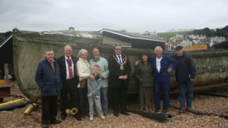 Alan Roberts, the Mayor of Hastings, D-Day White, Tush Hamilton, Charlie Sharrod and their families by the Priscilla MacBean