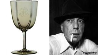 Humphrey Bogart and one of his personalised glasses