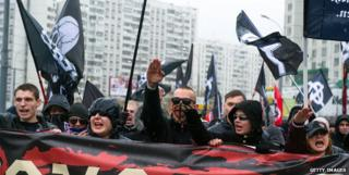 A group of ultra-nationalists on the outskirts of Moscow on November 4 2013, National Unity Day