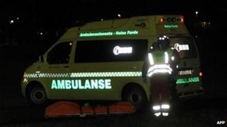 Ambulance at scene of hijack - 4/11/13