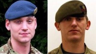 Y Corporal Brent McCarth a'r is-Gorporal Lee Davies